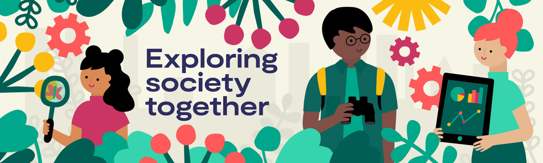 A graphic illustration show three people of diverse ethnicities exploring a natural environment and looking at data together