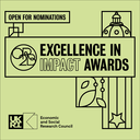 Green graphic featuring 'Excellence in Impact Awards - Open for nominations' and the UKRI ESRC logo