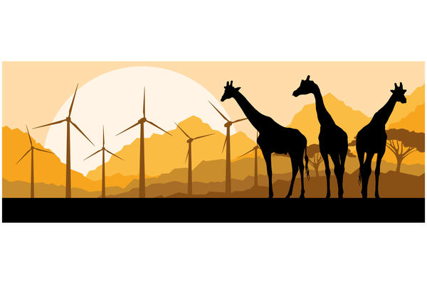 A graphic illustration showing silhouettes of three giraffes against an African landscape of acacia trees, mountains, a bright yellow sun, and a group of wind turbines