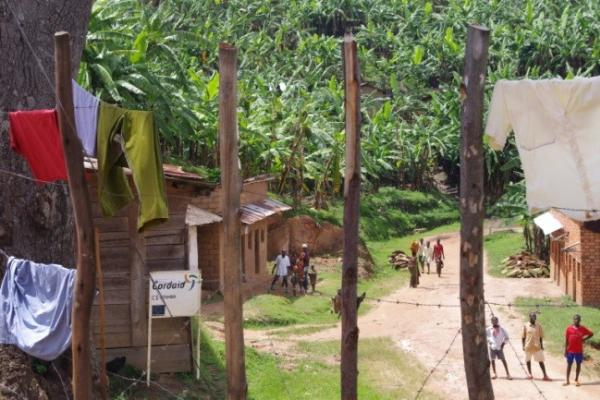 Village in Burundi with wooden houses, trees and washing hanging out
